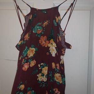 rue21 floral burgundy dress